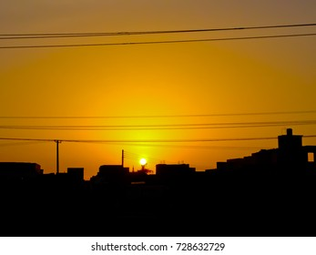 Silhouette city have twilight sky is abstract background