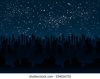 Silhouette City at Night on a Background Starry Sky. Star Night Dark Blue Sky Universal. Building, city town. Image.