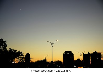 Silhouette of city view at dusk