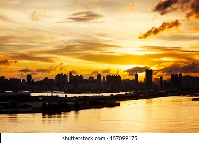 Silhouette of the cityscape in Hong Kong