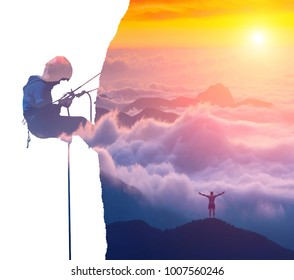 Silhouette of climber on a cliff and happy hiker in a mountain valley. Double exposure effect photography.
