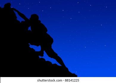 Silhouette  climbers evening.