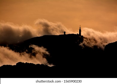 Silhouette of a cloudy Mont Ventoux. Autumn in France, Provence, Vaucluse