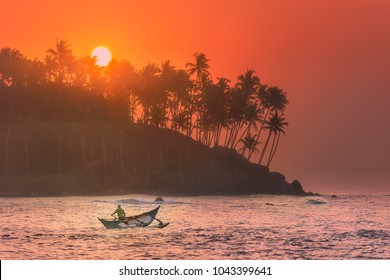 Silhouette of coconut palm, fishermen and sunbeams true trees on beach at sunrise Mirissa, Sri Lanka