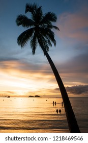 Silhouette coconut tree with the wonderful sunset beside the beach; KOH CHANG, THAILAND, 2014.