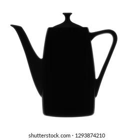 Silhouette of coffee pot is isolated on a white background