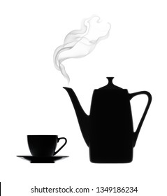 Silhouette of coffee pot with steam and cup on a white background