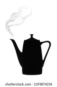 Silhouette of coffee pot with steam on a white background