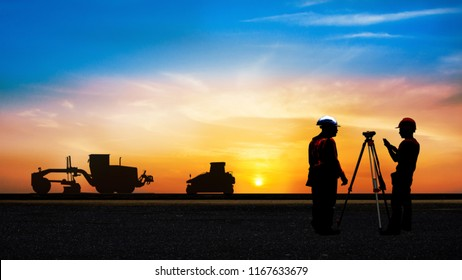 silhouette of construction with motor gradder