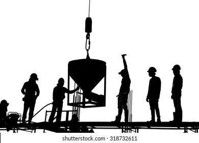 silhouette of construction worker team casting a concrete column by crane up lift bucket on scaffolding  white background