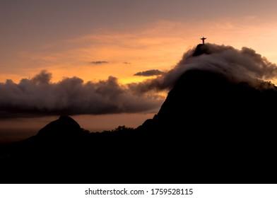 Silhouette of the Corcovado Mountain in Clouds, Rio de Janeiro, Brazil