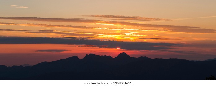 Silhouette of Corsican mountains at sunset, hiking trail GR 20, France