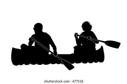 Silhouette of Couple Canoeing