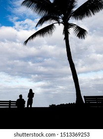 silhouette of couple in love sitting on bench