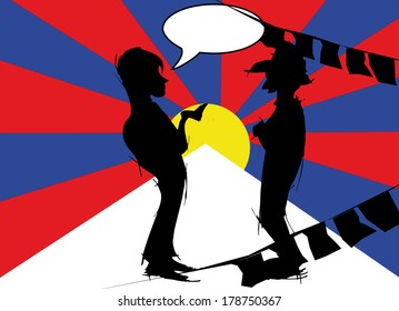 silhouette couple with tibetan flag