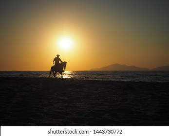 Silhouette of cowboy galloping on horse at sunset