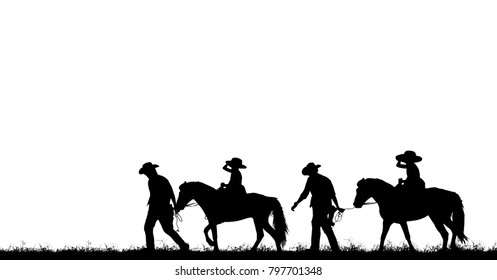 silhouette cowboy and girl riding a horse on white background.