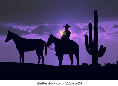 Silhouette cowboy with horses under sunset