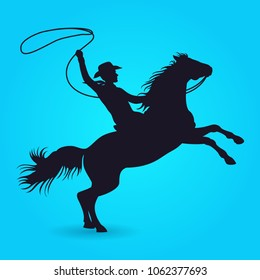 Silhouette of cowboy with lasso riding on horse. Silhouette of male rider cowboy with lasso. illustration