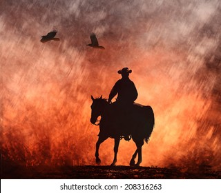 A silhouette of a cowboy on his horse rides into the fire with birds flying above.