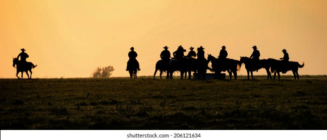 Silhouette of Cowboys ,