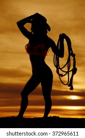 A silhouette of a cowgirl in the sunset with a rope.