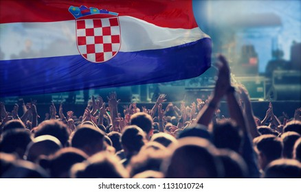 Silhouette of Croatia supporter fans cheering on soccer game