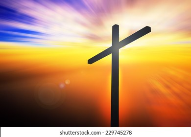 Silhouette the cross on the mountain golgotha representing the day of christ crucifixion in a sunset.