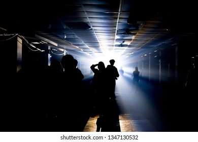 Silhouette crowd of people