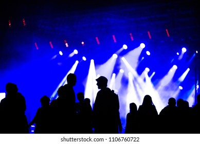 Silhouette of crowd of people socializing during music festival