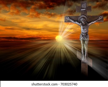 Silhouette of the crucified Jesus Christ on the cross against the red sky. The Biblical prophet is a symbol of death. Christmas, Easter background.
