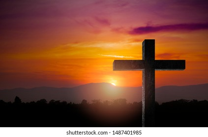 Silhouette of crucifix cross time for background.Jesus . concept Religious Christian Happy Easter. for wallpaper or background