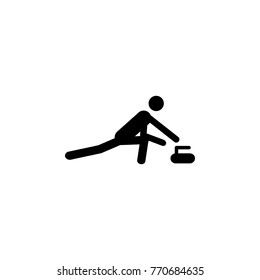 Silhouette Curling athlete isolated icon. Winter sport games discipline. Black and white design  illustration. Web pictogram icon symbol for infographics on white background