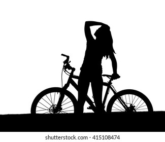 Silhouette of a cyclist with mountain bike isolated on white background.
