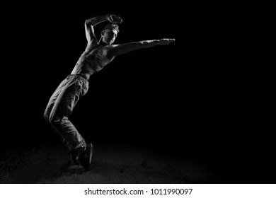 Silhouette of dancer in dancing concept