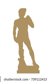 Silhouette of David statue from Michelangelo Buonarroti, Florence. Drawing object.