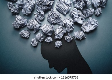 Silhouette of depressed person head. 