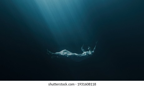 Silhouette Of Depressed Woman Sinking Into Underwater Grave Dark Deep Magic Ocean Sadness Loneliness Unhappy Sorrow Melancholy Misery Psychological Disorders Bipolar Disorder Mental Illnes Disease