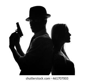 Silhouette of detective with beautiful woman isolated on white background