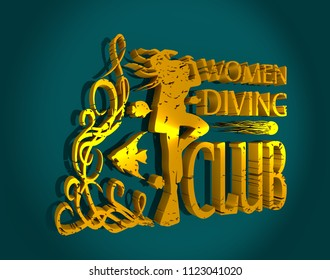 Silhouette of diver. The concept of sport diving. 3D rendering