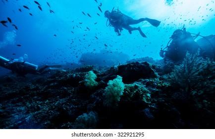 silhouette of diver underwater