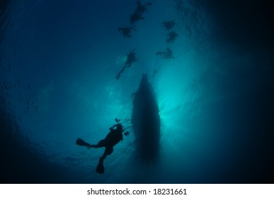 Silhouette of divers