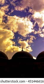 Silhouette of domes with hard reverse light
