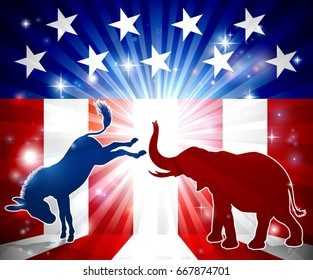 A silhouette donkey and an elephant with an American flag in the background democrat and republican political mascot animals
