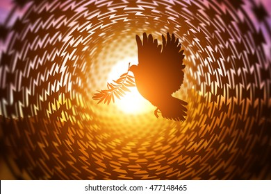 Silhouette of Dove carrying olive leaf branch flying in Circle barbed wire on sunset background for freedom concept and international day of peace 2017