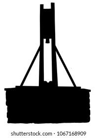 A silhouette drawing of the The Halifax Gibbet  which was an early guillotine, or decapitating machine, used in Halifax, West Yorkshire, England