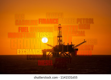 Silhouette of driling rig with text cloud
