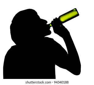 Silhouette of drinking man