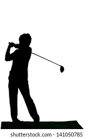 Silhouette of driving golf's man against white background.