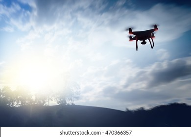 Silhouette Drone flying top view Mountain landscape. Drone shooting photo and video with drone flying.